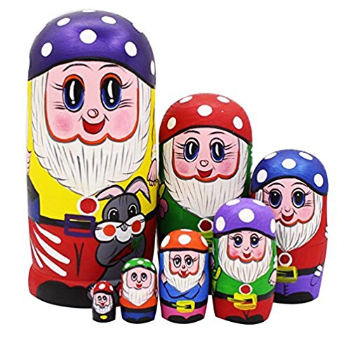 - Lovely Gnome Dwarfs with Mushroom Cap and Grey Rabbit Handmade Wooden Russian Nesting Dolls Matryoshka Dolls Set 7 Pieces for Kids Toy Birthday Christmas New Gift Gift Home Decoration (Purple)