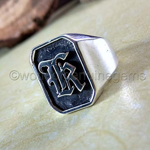 (solid 925 sterling silver, oxidized silver ring, personalised jewelry for mens, customized letter ring, silver men's ring)