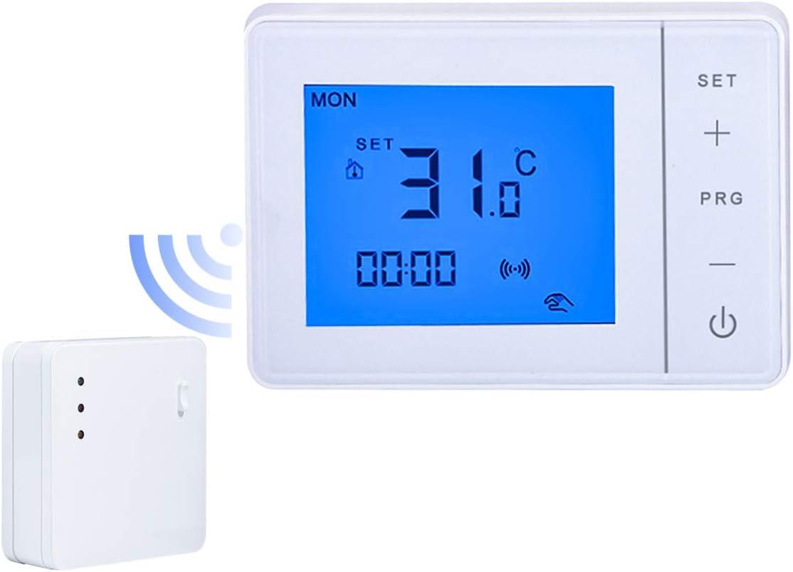 LEDLUX LL0255 Termostato inalámbrico RF Cronotermostato digital semanal táctil para caldera de gas y calefacción radiador de agua 3 A 220 V