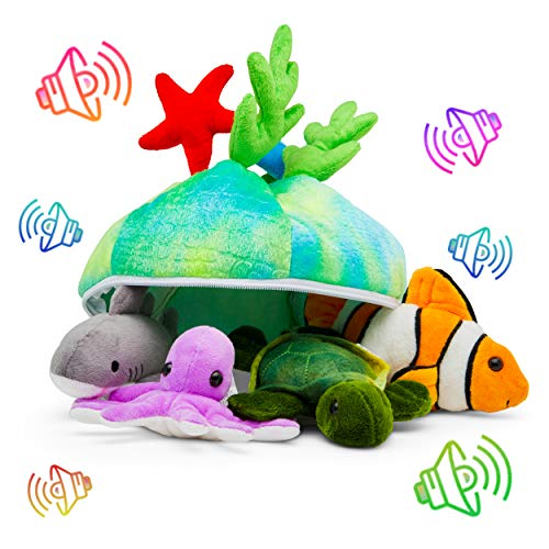 Plush Creations Talking Sea Creature Set with Carrier [Set of 4 Animals] | Shark, Sea Turtle, Octopus & Clown Fish Toy Set for Boys & Girls