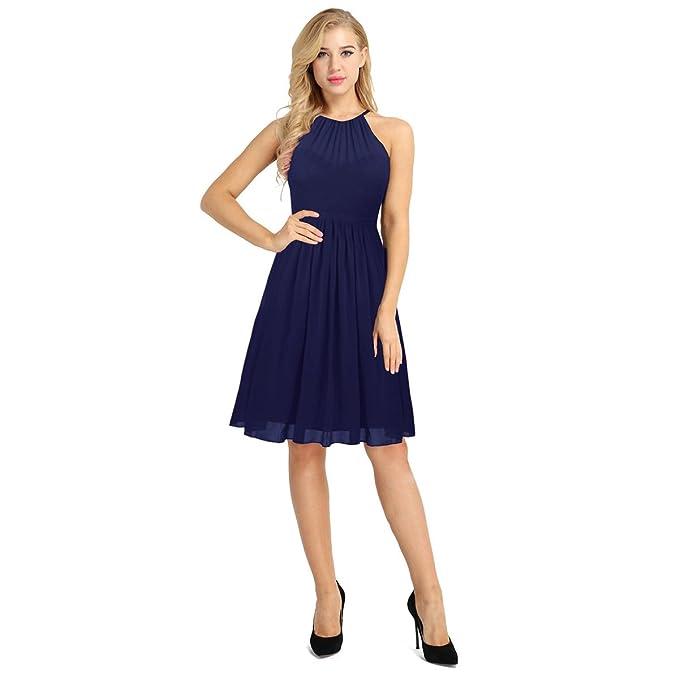 iEFiEL Vestido de Fiesta Mujer Verano 2018 Elegantes Vestidos Cortos Sin Mangas Cuello Halter Vestido Boda