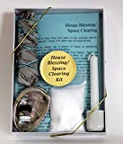 House Blessing/Space Clearing Kit with White Sage, Abalone Shell, Sea Salt, White Candle & Candle Holder Holy Water, plus Instructions