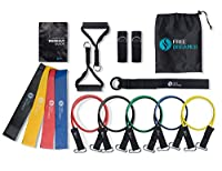 Resistance Bands Set5Stackable Exercise Bands4Resistance Loop Bands For Yoga, Fitness Attachment also contains Door Anchor Attachment, Legs Ankle Straps & Exercise Guide,For Indoor&Outdoor Workout