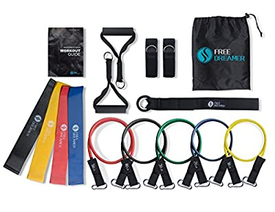 Free Dreamer Resistance Bands Set 5 Stackable Exercise Bands 4 Resistance Loop Bands Yoga, Fitness Attachment Also Contain Door Anchor Attachment, Legs Ankle Straps & Exercise Guide Indoor&Outdoor from F00005