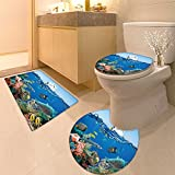 3 Piece Anti-slip mat set Map with Countries name Text or Typography Non Slip Bathroom Rugs