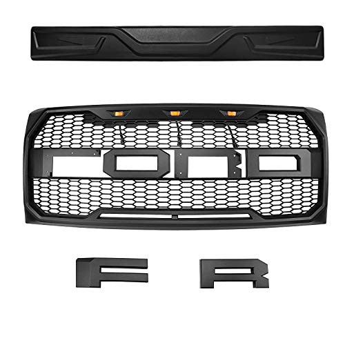 Front Grille Fits For 2009-2014 Ford F-150 F150 Grille Matte Black Raptor  Style Grille Conversion Grill with Letters F,R and Evil eyes Style