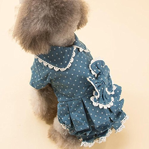 [Q@QQ Lace bow dog dog cowboy skirt pet autumn and winter lovely skirt , b , 10#] (Target Cowboy Dog Costume)