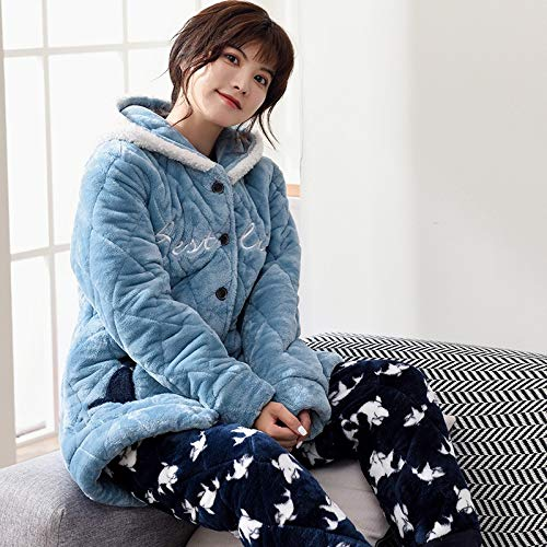 Be Coral Quilted Pajamas And Warm Outside Service Worn Plus Home Velvet Winter layer 50kg Three Can 30 Suit Autumn Thick Pajamasx Cute M150 Ladies 162cm Z85qZ