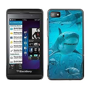 TECHCASE**Cubierta de la caja de protección la piel dura para el ** Blackberry Z10 ** Shark Smile Funny Ocean Blue Water Sea