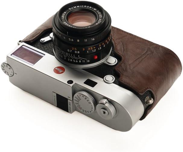 Coffee Leica M10 Case BolinUS Handmade Genuine Real Leather Half Camera Case Bag Cover for Leica M10 Camera With Hand Strap