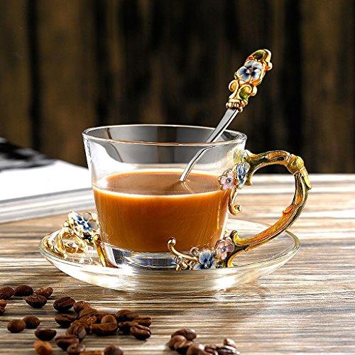 3 Piece Shi Set (European style Coffee Cup Simple Creative Glass Set 3 Piece Set ( Color : Blue ))