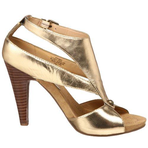 NINE WEST - Sandalia De La Correa Del Tobillo Para Mujer NWSWISH GOLD Tacón: 10.5 cm