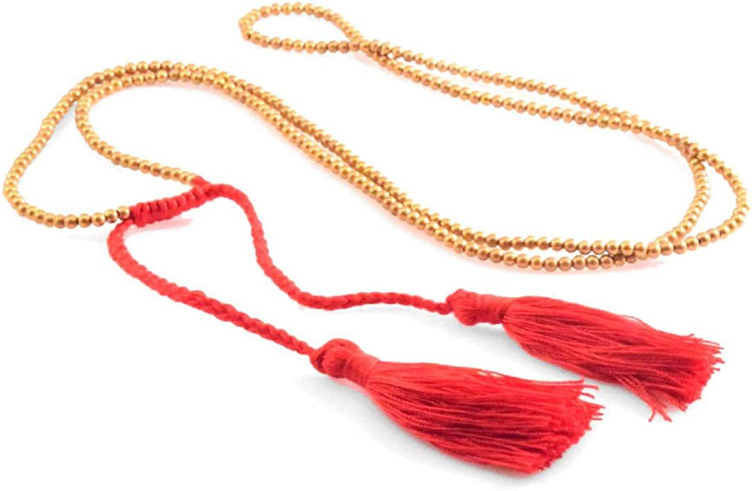 Gold Beaded Tassel Necklace...