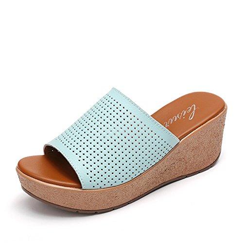 6 EU38 blanc Couleur femme à HAIZHEN Chaussons Bleu noir 5 8 UK5 épais Noir femmes femmes bleu rayures l'été pour Chaussures chaussures CN38 Chaussures cm taille Pour à plates nqI1SU
