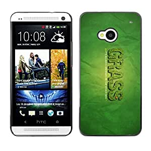 PC/Aluminum Funda Carcasa protectora para HTC One M7 Grass Greener Other Side Quote Funny Weed / JUSTGO PHONE PROTECTOR