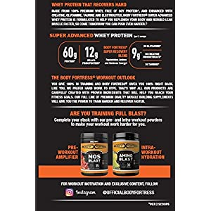 Body Fortress Super Advanced Whey Protein, Strawberry Protein Supplement Powder to Build Lean Muscle & Strength 1-2lb Jar.