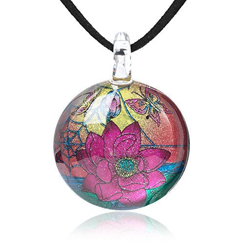 (Chuvora Hand Blown Glass Jewelry Butterflies & Lotus Flower Vintage Round Pendant Necklace, 17-19 Inches)