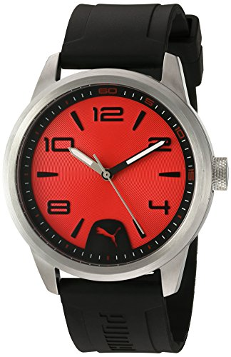 PUMA Quartz Stainless Steel and Polyurethane Watch, Color:Black (Model: PU104041002)