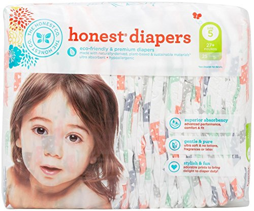 - Honest Diapers, Multi Colored Giraffes, Size 5, 25 Count