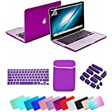 Se7enline Macbook Pro Case Cover [5 in 1 Bundle] Multi colors Hard Case Cover for 13.3 inches Macbook Pro with Retina Display Model A1502/A1425 (not fit for Model A1278) ,Deep purple