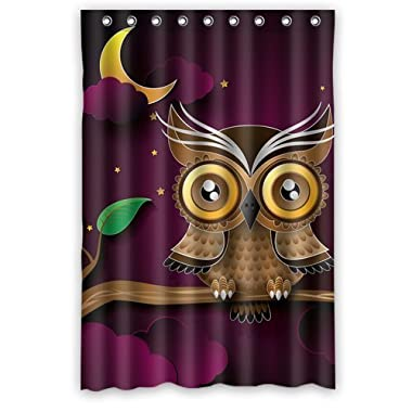 Lovely Cartton Owl On Tree with Moon animal wallpaper Shower Curtain 48  x 72