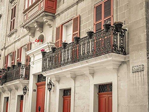 "Traditional Maltese house with balcony, Mdina, Malta by Assaf Frank - 8"" x 10"" Giclee Canvas Art Print"