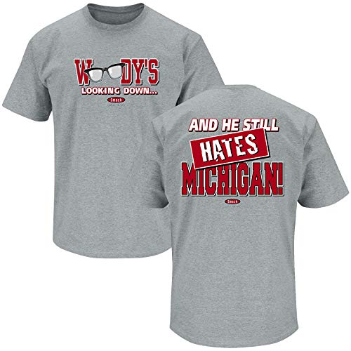 Ohio State Football Fans. Woody's Lookin' Down (Anti-Michigan) Grey T-Shirt (Sm-5X) (Short Sleeve, - Ohio Cap Womens