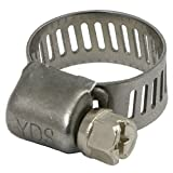 YDS 400 Grade Stainless Steel Mini Hose Clamp, Worm Drive, SAE Size 2, 1/4'' to 1/2'' Diameter Range, 0.35'' Bandwidth (Pack of 20)