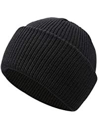 Muuttaa Winter Warm Soft Folded Brim Knitted Beanie Hat for Men and Women (Black)