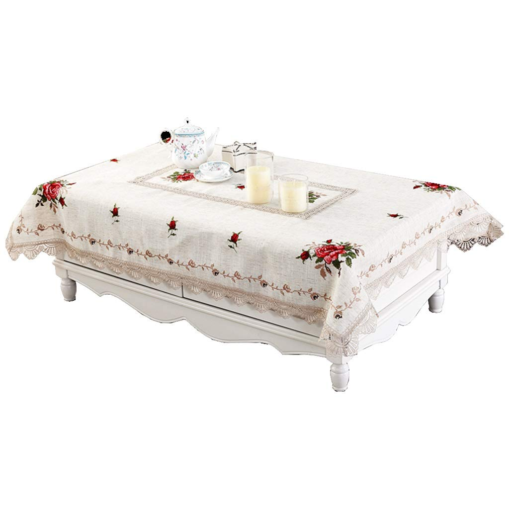 Amazon.com: Le Fu Yan Pastoral Cross-Stitch Embroidered Tea Table Cloth Table Cloth Tablecloth Linen Tablecloth Cover Towel Coffee Table Cover Cloth ...