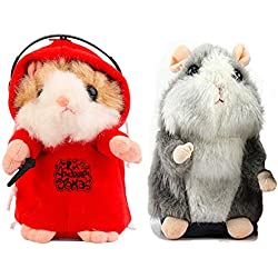 KateDy Grey Stuffed Animal Mimicry Talking Mouse Hamster,with Red Mimicry DJ Dancing Talking Hamster Mouse Vole Headphone