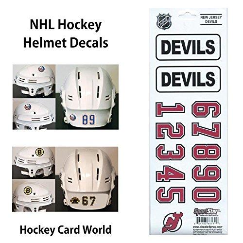 ((HCW) New Jersey Devils SportsStar NHL Hockey Helmet Decals Sticker)
