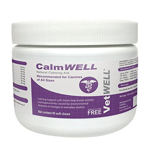 VetWELL Dog Calming Treats - Anxiety Relief Supplement for Dogs - 60 CalmWELL Grain Free Calming Chews by VetWELL
