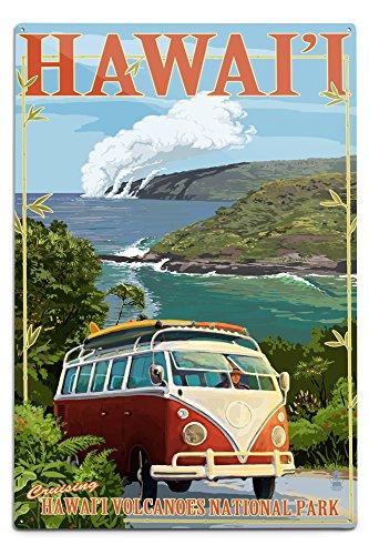Hawaii Sign (Hawaii Volcanoes National Park, Hawaii - VW Van (12x18 Aluminum Wall Sign, Wall Decor Ready to Hang))
