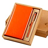 [Orange] PU Leather Notebook Diary Notebook with Signature Pen