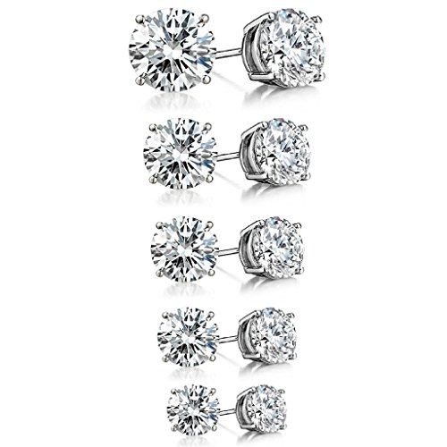925 Sterling Silver Round CZ Solitaire Cubic Zirconia Unisex Stud Earrings, 3mm. 4mm. 5mm. 6mm. 7mm. (Set of 5) ()