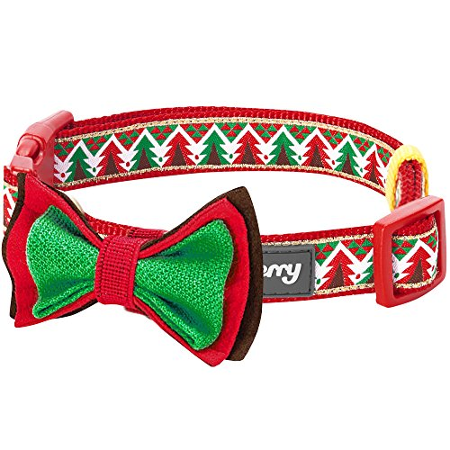 Blueberry Pet 14 Patterns Christmas Charm Breezy Trees Dog Collar with Detachable Bow Tie, Medium, Neck 14.5-20, Adjustable Collars for Dogs
