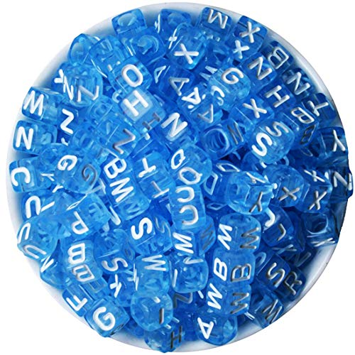 (Izasky Pony Beads Letters 200Pcs/Lot Mixed Color Alphabet/Letters Flat Round Pony Beads Making Bracelets, Necklaces, Key Chains and Kids Jewelry (Blue - White)