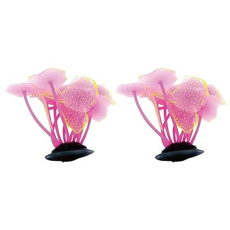 YaptheS Ornamento Planta Planta Artificial Coral 2pcs Rosa del Tanque de Peces de mar decoración Acuario