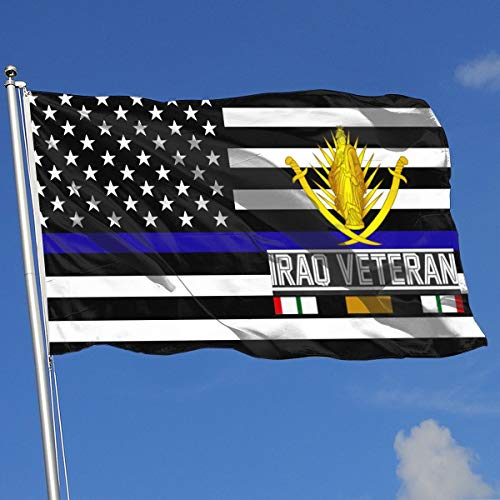 QphonesFlag Thin Blue Line US Iraq Veteran 3x5 Flag-Flags 90x150CM-Banner 3'x5' FT