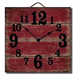 Highland Graphics 12 Rustic Red Wall Clock Made in USA from Reclaimed Wood Slats