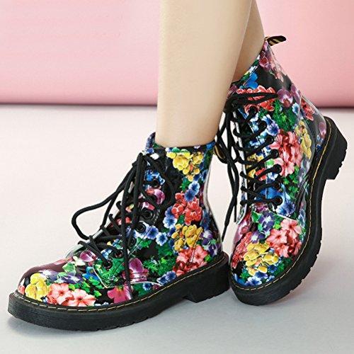 Vogstyle Damen Mädchen Stiefel Halbschaft Stiefeletten Winter Schnürstiefeletten Blumen Ankle Boots Art 1 Warm Gefüttert