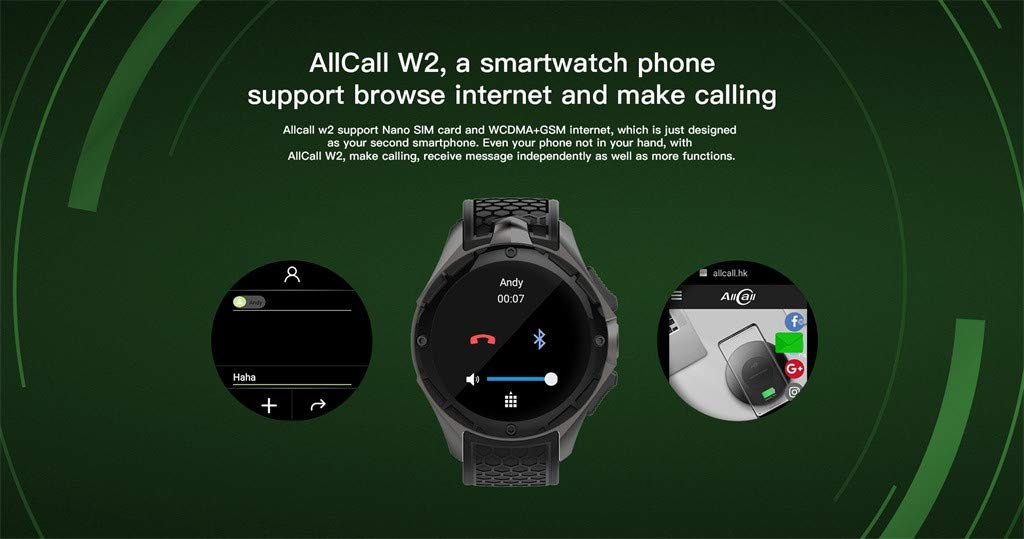 Amazon.com : AllCall W2 3G Android 7.0 Quad Core Smart Watch ...