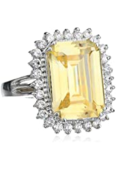 """CZ by Kenneth Jay Lane """"Classic Cubic Zirconia"""" Rhodium-Plated Silver Framed Yellow Ring, Size 7, 7 CTTW"""