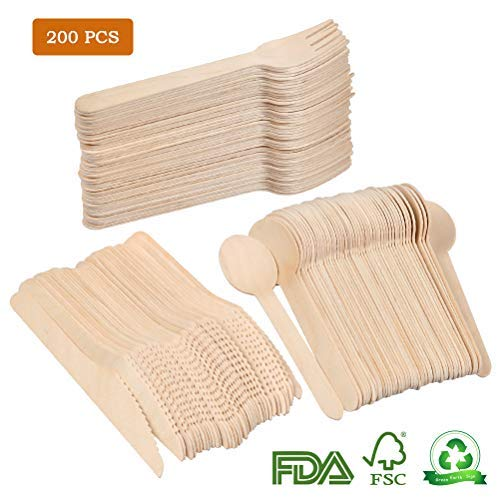 TIMESETL Wooden Cutlery Biodegradable Disposable Cutlery Set 100 Wood Forks,50 Wood Knives,50 Wooden Spoons Environmentally Friendly Degradable utensils for Barbecues Birthdays Camping Picnic