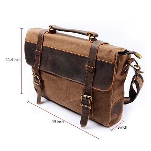 bagtree Leinwand echtes Leder Schulter Laptop Messenger Bag–Braun