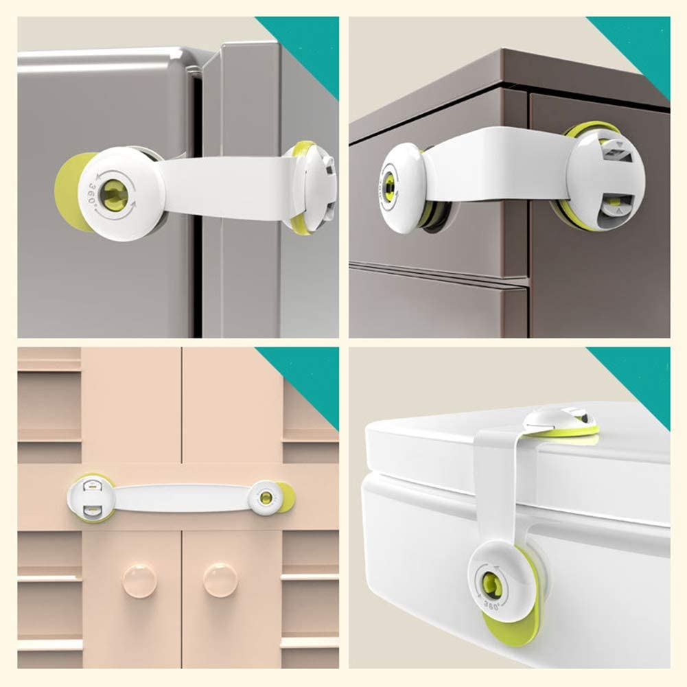 LAMEIDA 4 Pack Baby Safe Lock Child Safety Cupboard Locks Adhesive Baby Proof Locks for Kitchen Cupboards Drawers Fridge Freezer Refrigerator Closet