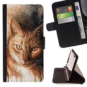 Momo Phone Case / Flip Funda de Cuero Case Cover - Dibujo del arte del gato jengibre anaranjado amarillo; - HTC Desire 626