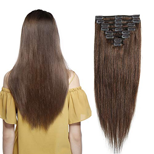 100% Remy Human Hair Extensions Clip in #4 Medium Brown 20