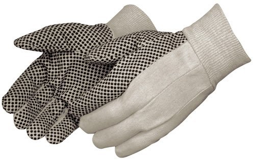 Liberty 4505 8 oz Cotton Canvas Men's Glove with Black PVC Dots On Palm (Pack of 12) by Liberty Glove & Safety